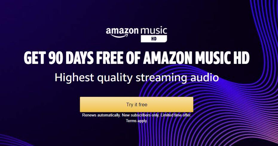 Amazon Music HD is free for 90 days (Update: Expired)