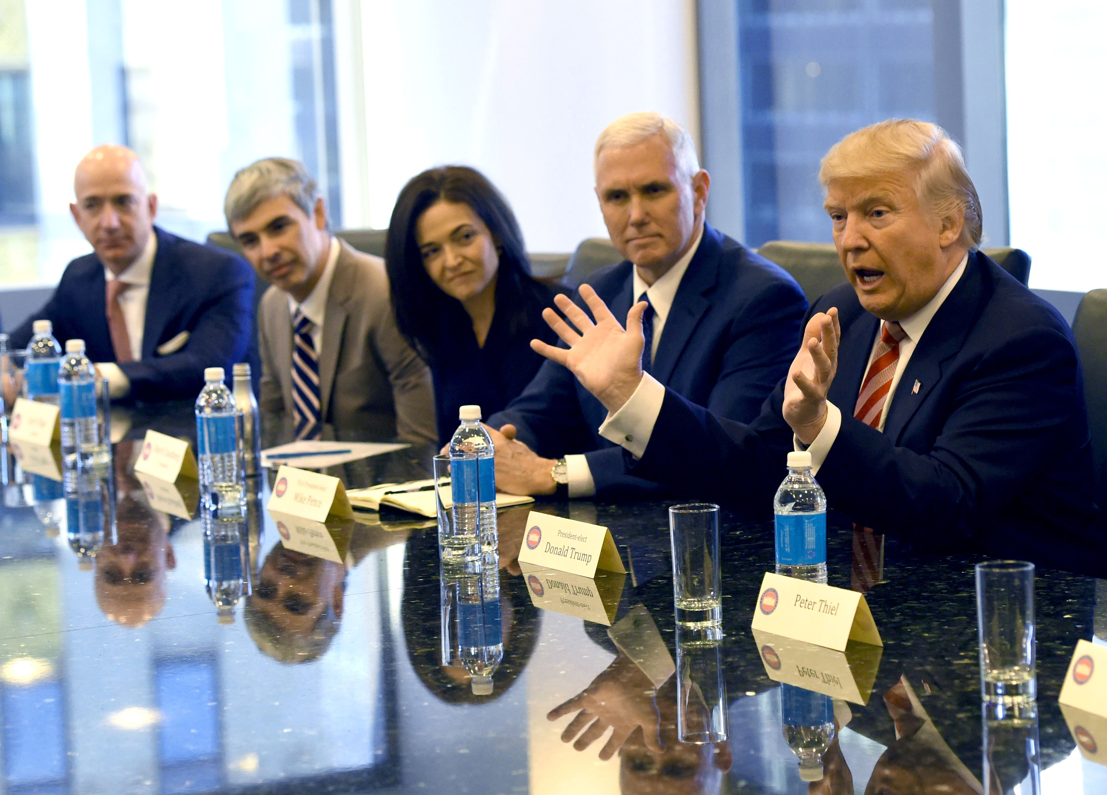 Amazon's chief Jeff Bezos, far left, at a meeting with President-elect Donald Trump at Trump Tower in late 2016.