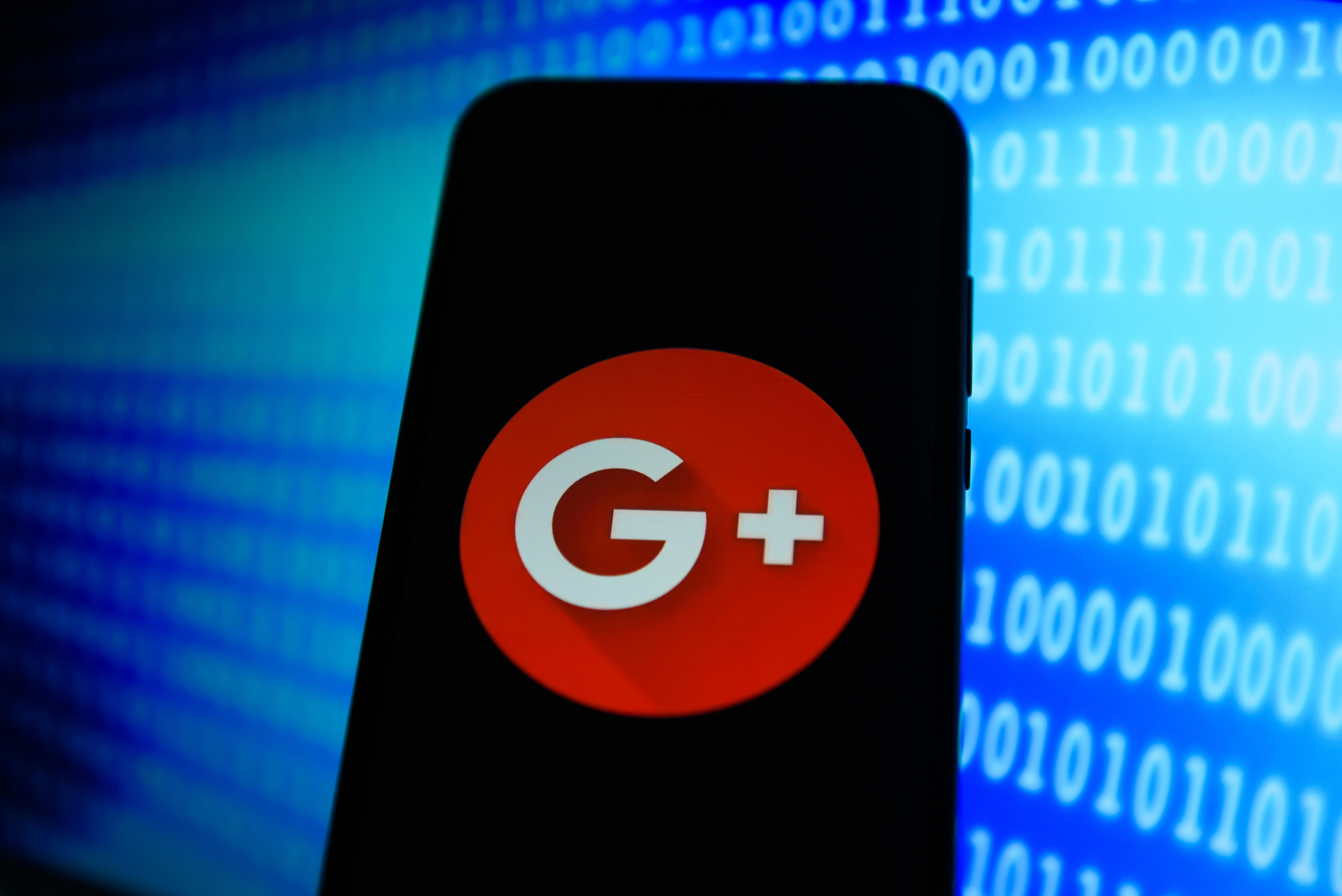 Google +  logo is seen on an android mobile phone