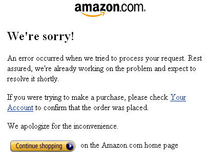 Amazon posted an apology placeholder page for broken links.