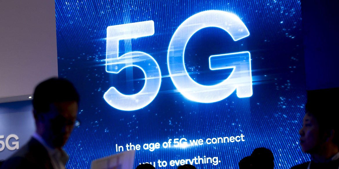 A sign touting 5G at Mobile World Congress 2019.