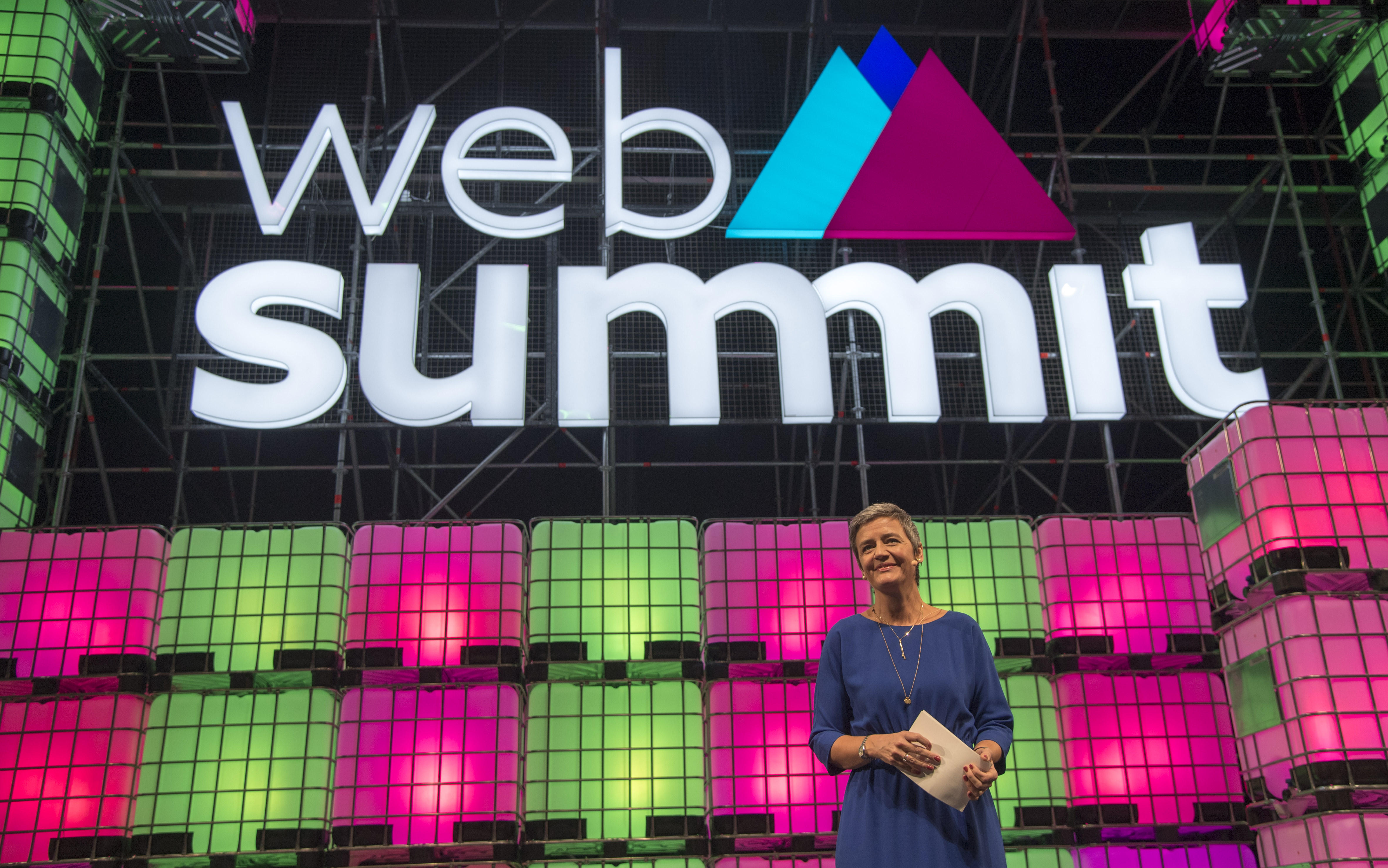 European Competition Commissioner Margrethe Vestager on stage at Web Summit in Lisbon, Portugal.