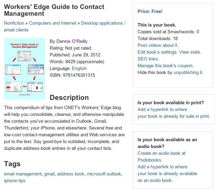 Smashwords e-book page for sample contact-management title