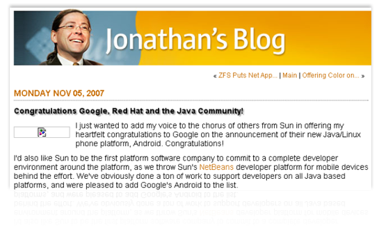 The beginning of Sun's Jonathan Schwartz's 2007 blog post praising Google's use of Java in Android.