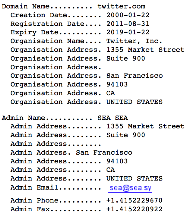 A Syrian Electronic Army e-mail address is listed with control over the Twitter.com domain.