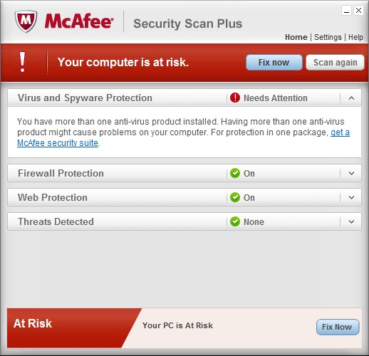 McAfee Security Scan Plus warning pop-up