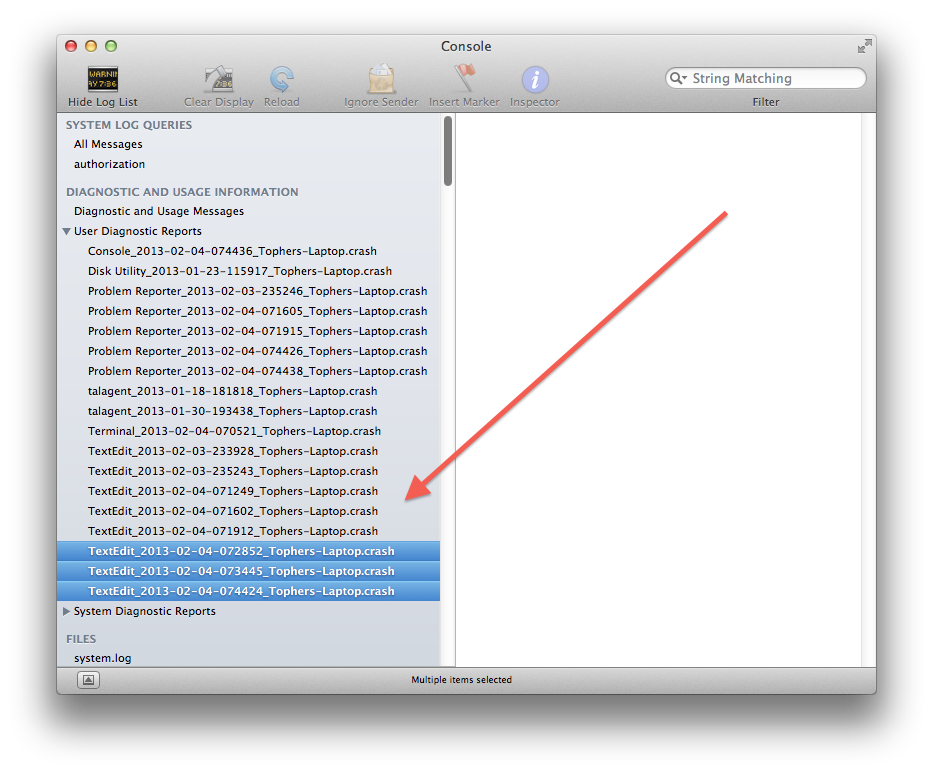 Multi-file selection in the OS X Console