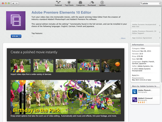 Adobe has begun selling its Premiere Elements and Photoshop Elements software through the Mac App Store.