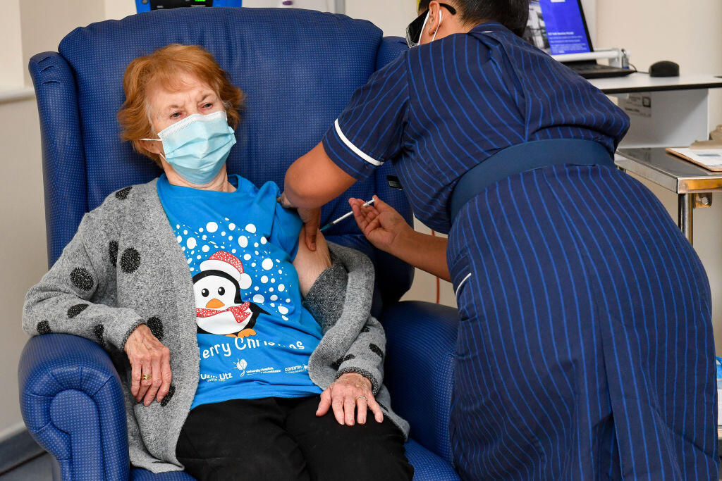 Margaret Keenan, 90, is the first person in the UK to receive the vaccine.
