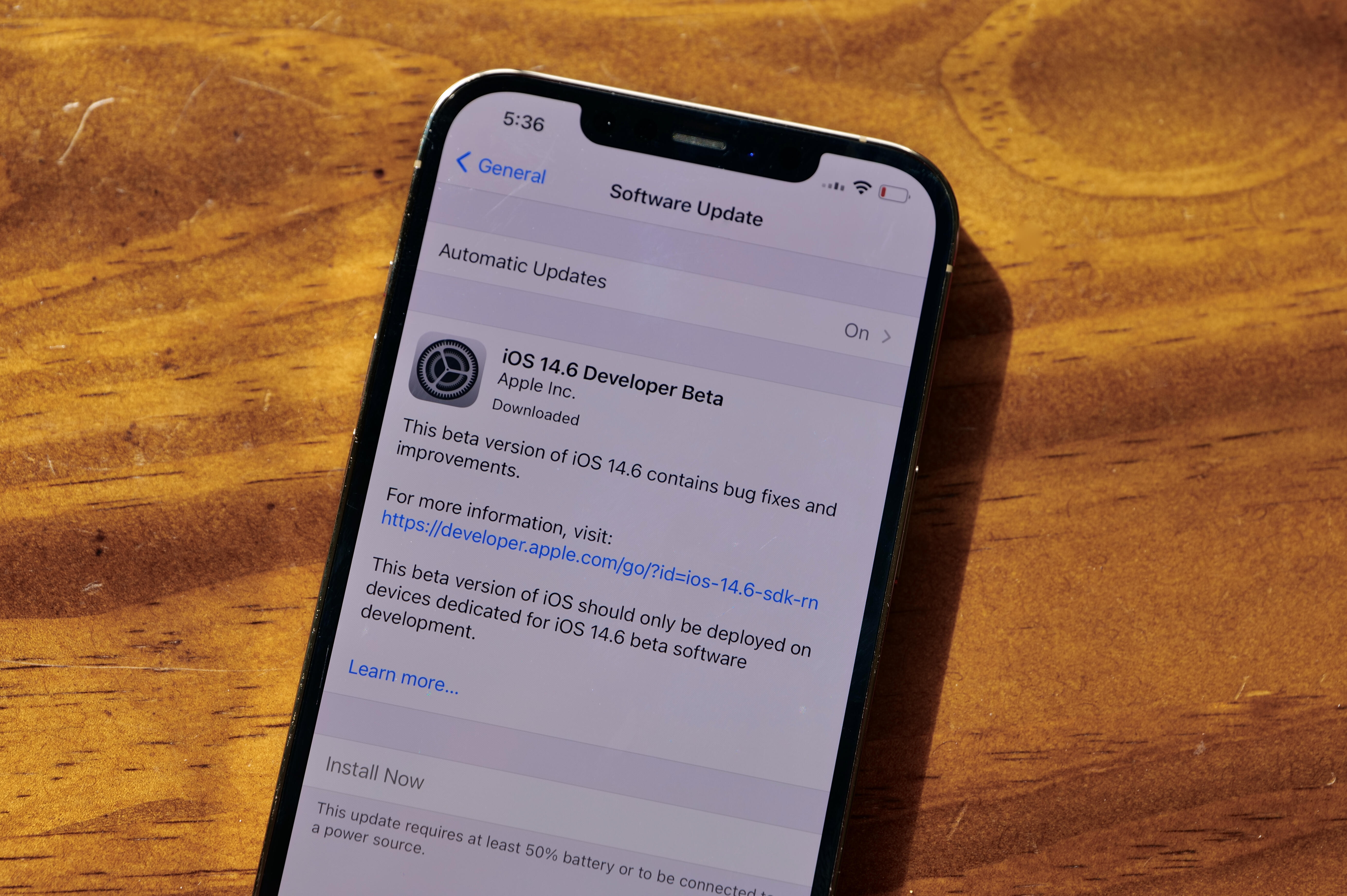 iOS 14.6 beta for iPhone