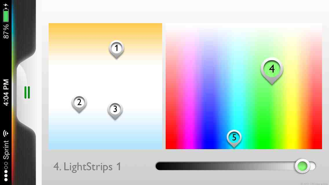 You can program the LightStrips (pin 4) to display one of 16.5 million colors.