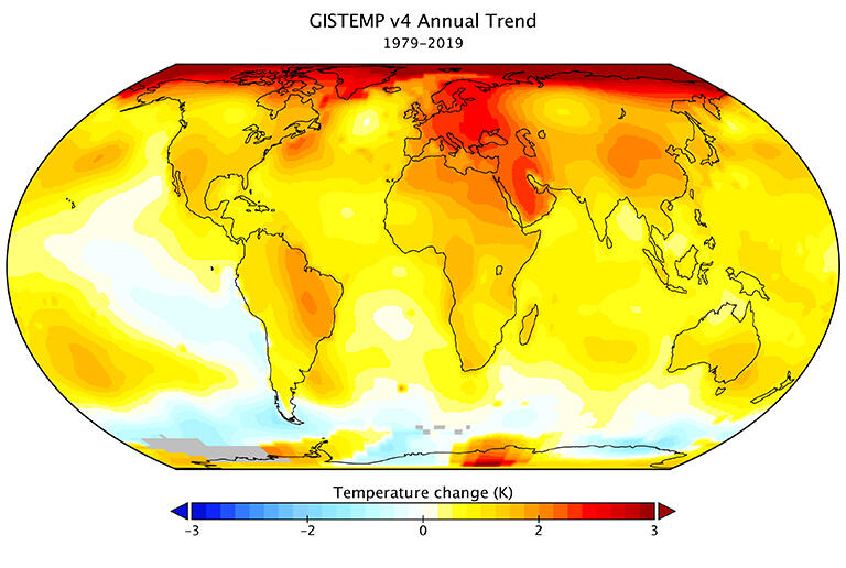 Climate change has warmed global temperatures. This NASA map shows the difference between 1979 and 2019.