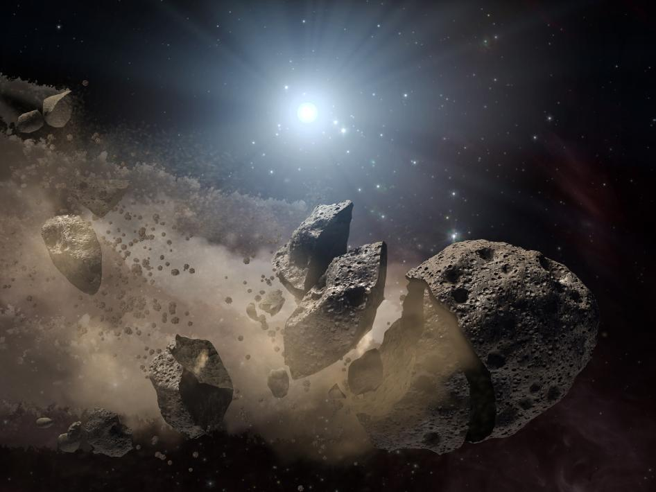<p>A solitary space rock suffered a terminal break up.</p>