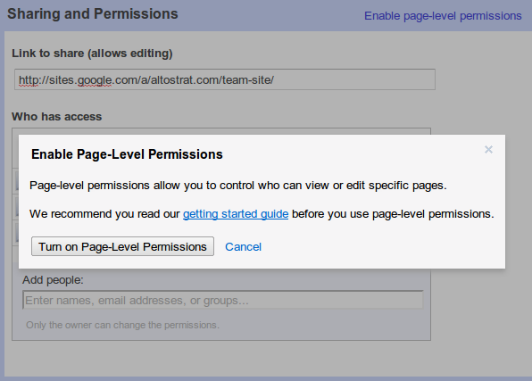 Google Sites now lets site owners give other individuals privileges to see and edit specific pages.