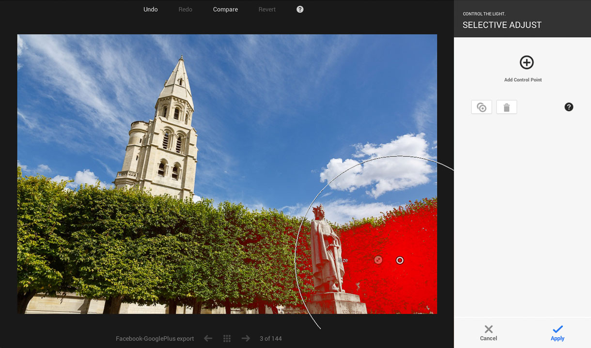 Native Client is powerful enough for the Google+ photo-editing idea of control points, which change aspects like exposure or saturation for a particular color within a selected regions. That's pretty advanced work for a Web-based app.