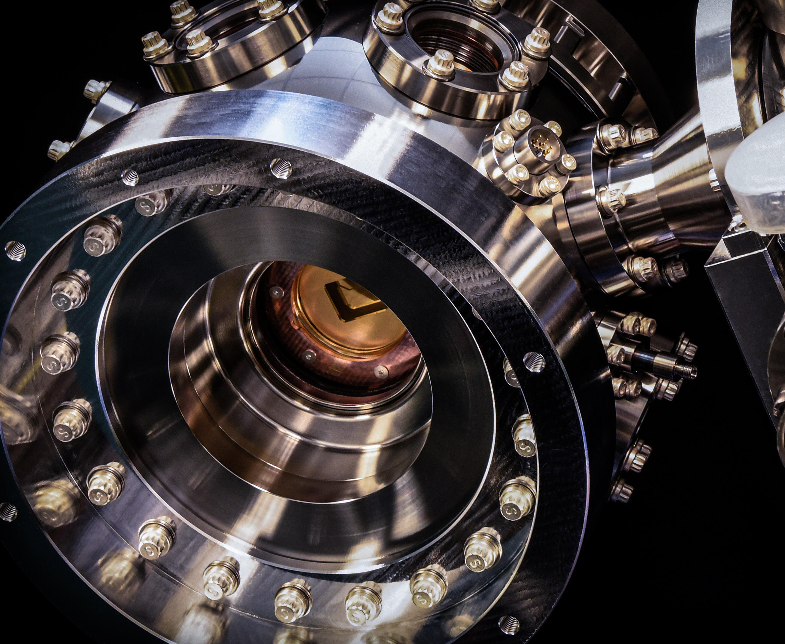 <p>An ion chamber houses the qubit brains of Honeywell's quantum computers.</p>