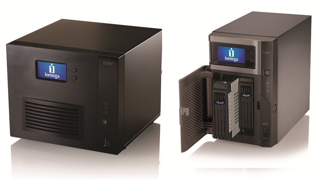 The new StorCenter ix4-300d (left) and StorCenter px2-300d NAS servers from Iomega.