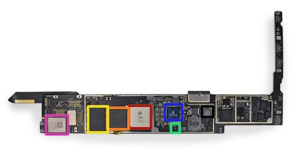 The iPad Air's main circuit board with the Apple A7 processor.