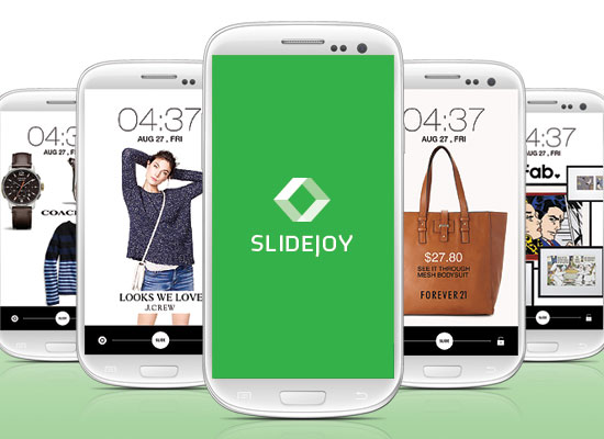 Slidejoy show ads on an Android phone's lock screen. Sliding the ad to the right ignores it, and sliding it to the left triggers further engagement such as opening up a Web page.