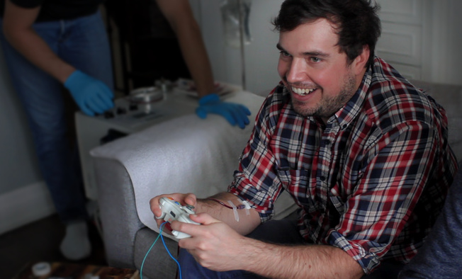 Blood Sport controller in use