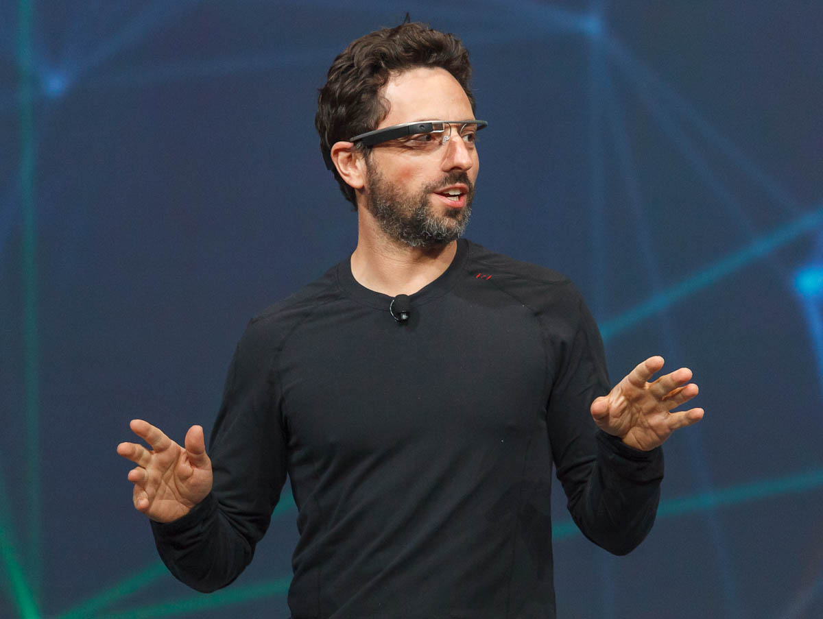 Google co-founder Sergey Brin touts the Project Glass computerized glasses at the Google I/O show.
