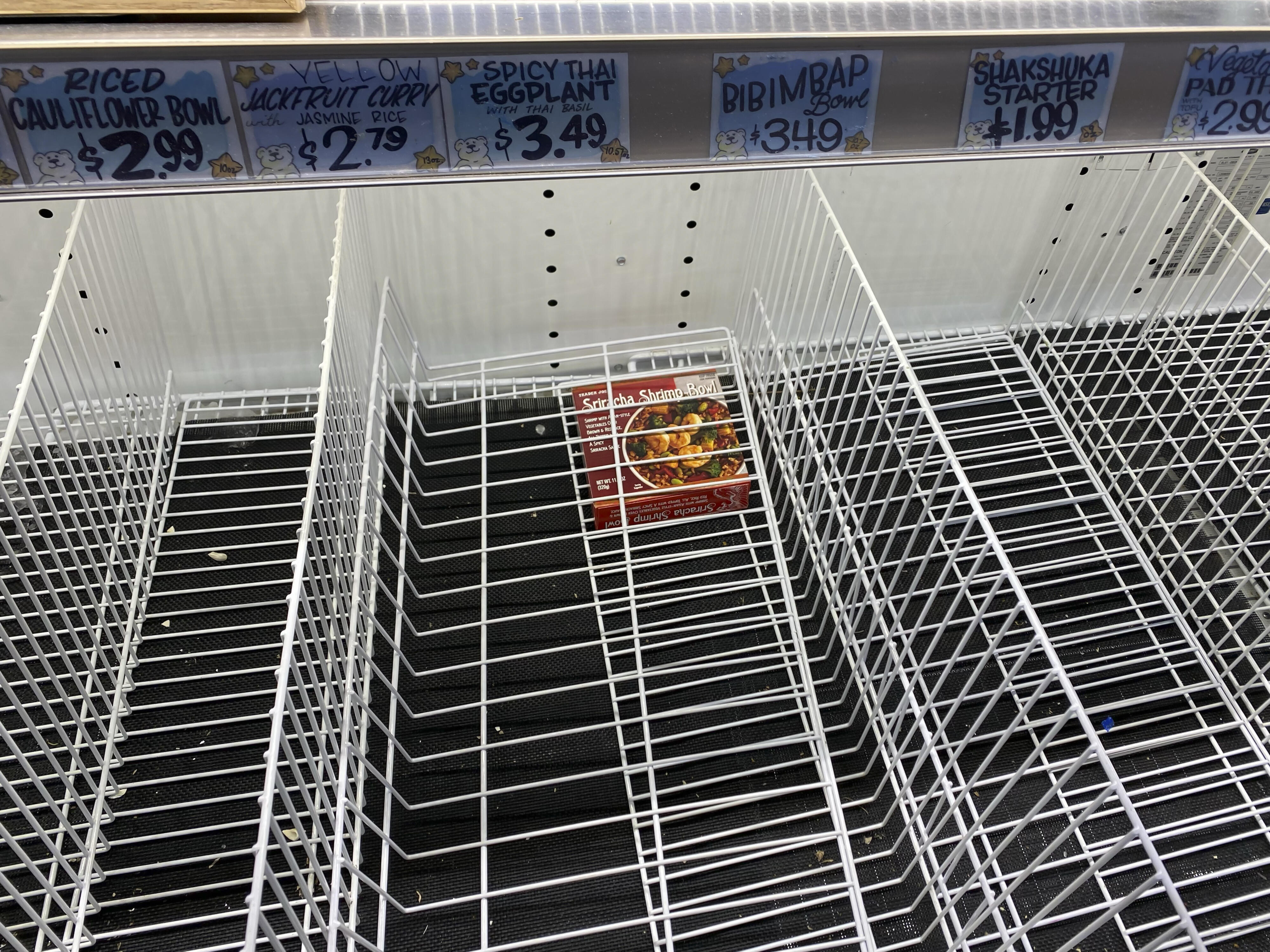 empty frozen foods