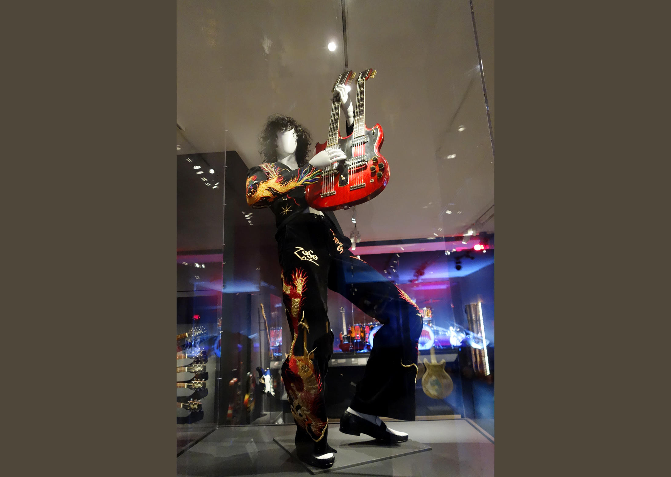 Jimmy Page mannequin with 1971 EDS double-neck guitar