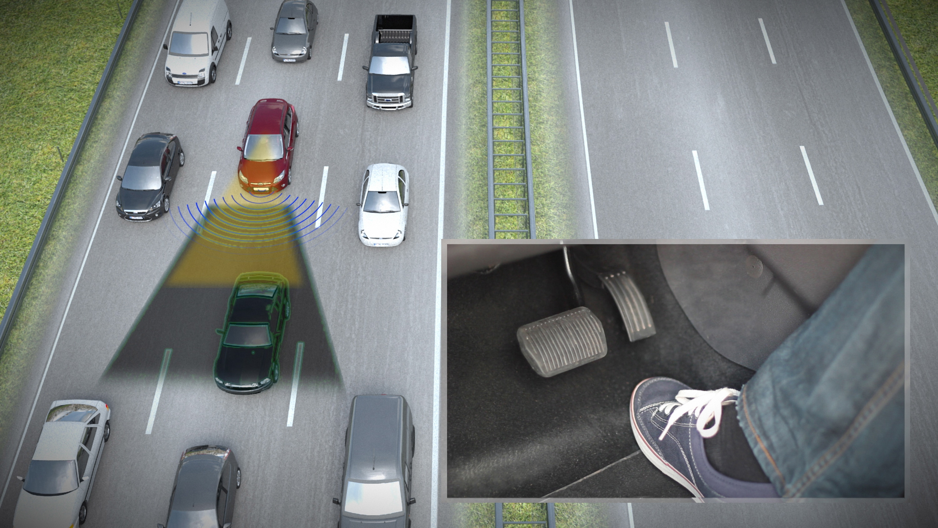 Using traffic jam assistant, the vehicle will regulate its speed.