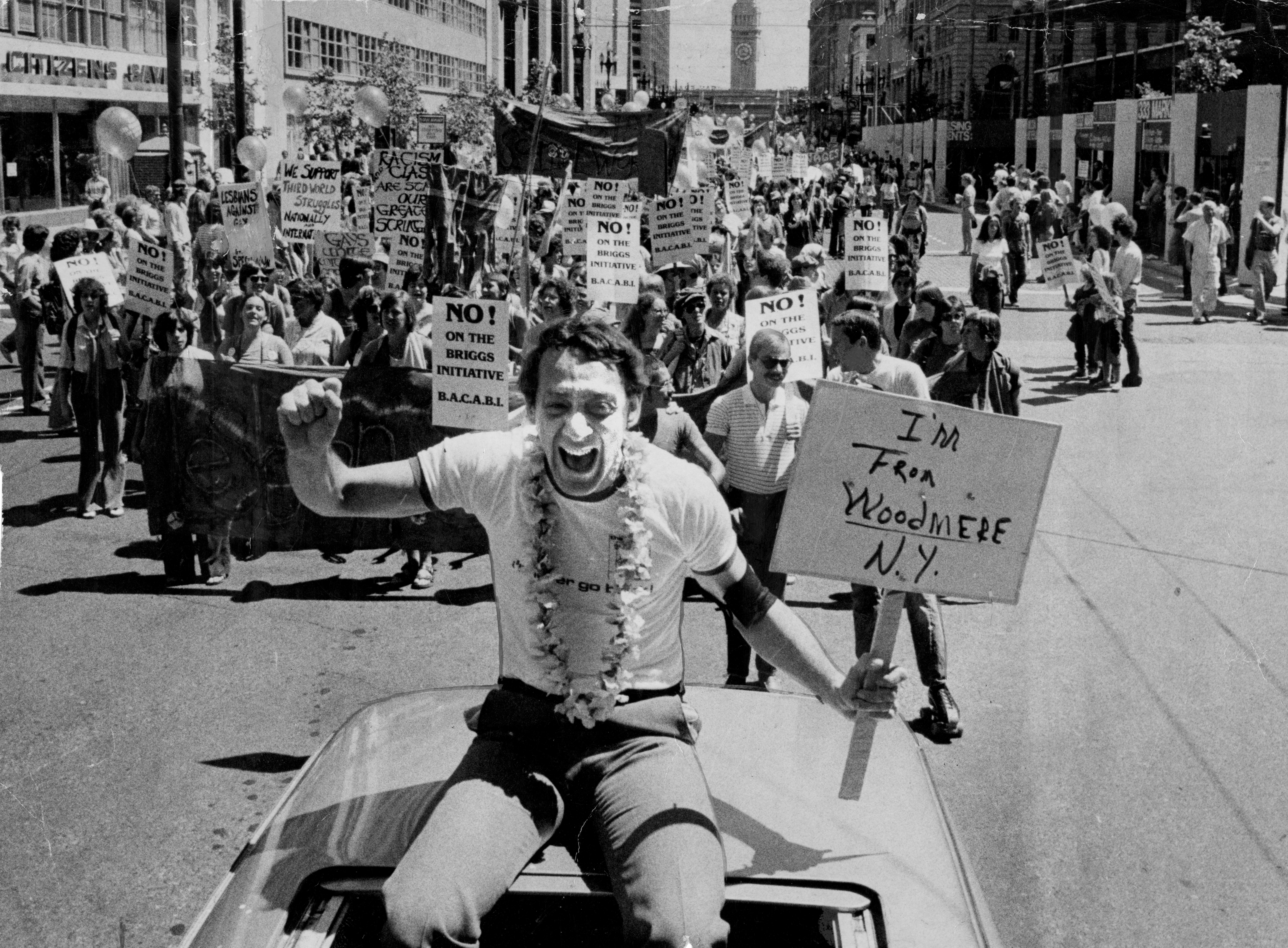 """<p>Harvey Milk in the parade for San Francisco's 1978 Gay Freedom Day just before giving his """"you must come out"""" speech against the Briggs Initiative.&nbsp;</p>"""