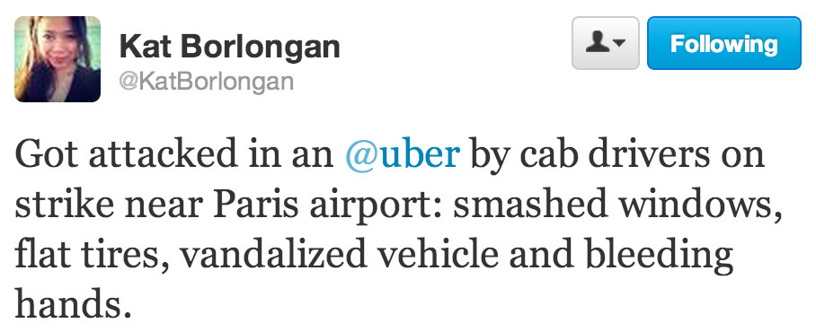 Five by Five co-founder Kat Borlongan tweeted about an attack on the Uber car she was riding in.