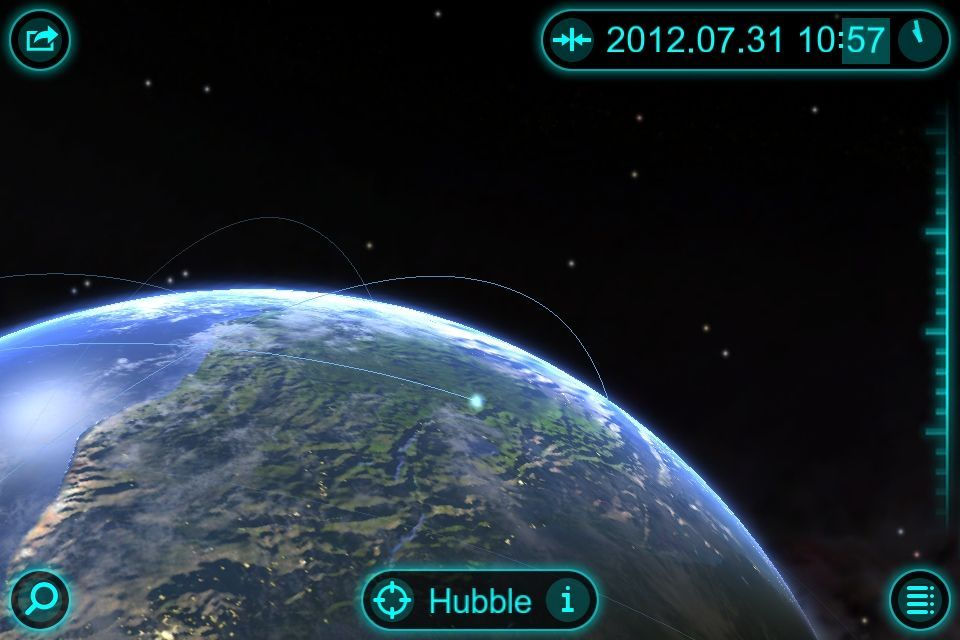 Screenshots absolutely don't do Solar Walk justice. See that blue dot? It's the Hubble telescope. And you can zoom in to watch it fly over the Earth. In real time.