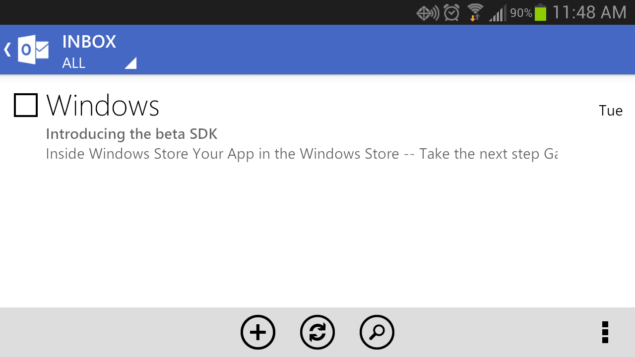 New Outlook.com Android app inbox