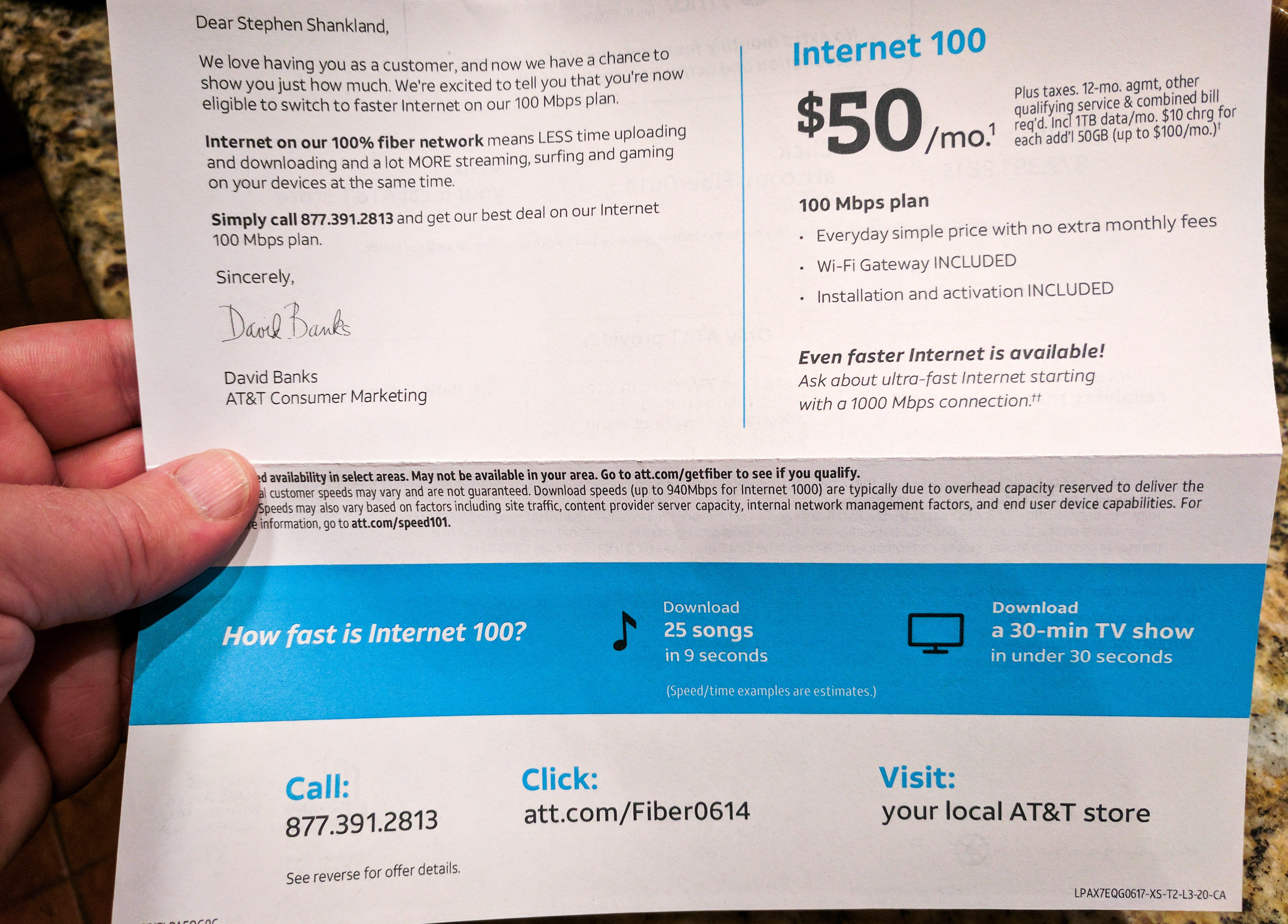 AT&T Fiber can boast of high upload speeds, but in this promotional mailing, it only mentions download speeds.