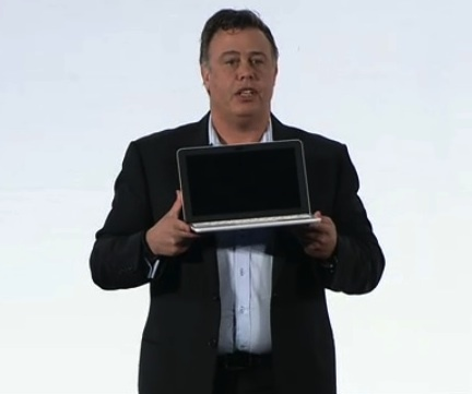 HP executive vice president Dion Weisler shows of the Chromebook 11 on Wednesday at the HP Securities Analyst meeting.
