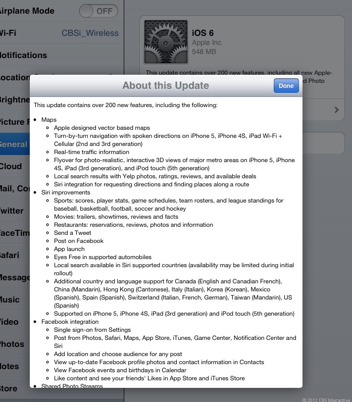 The update screen on an iPad 2, where the update is 548MB.