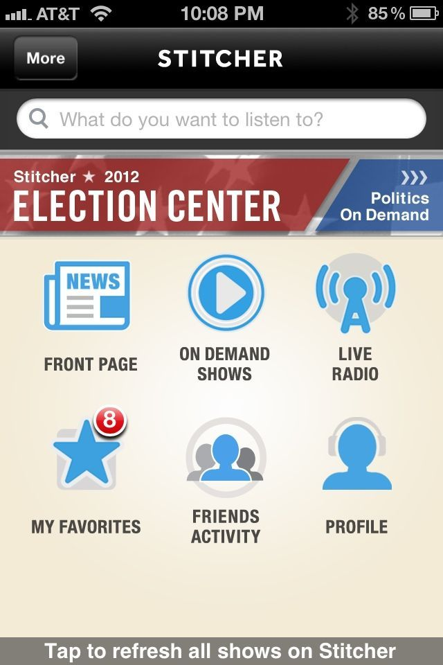 Stitcher for iOS delivers not only live radio, but also on-demand podcasts.