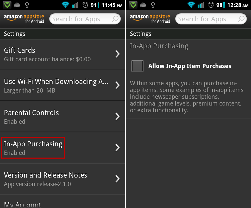 Disable Amazon Appstore in-app purchasing