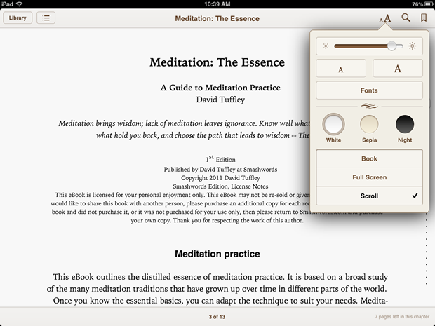 iBooks 3.0 now lets you scroll vertically.