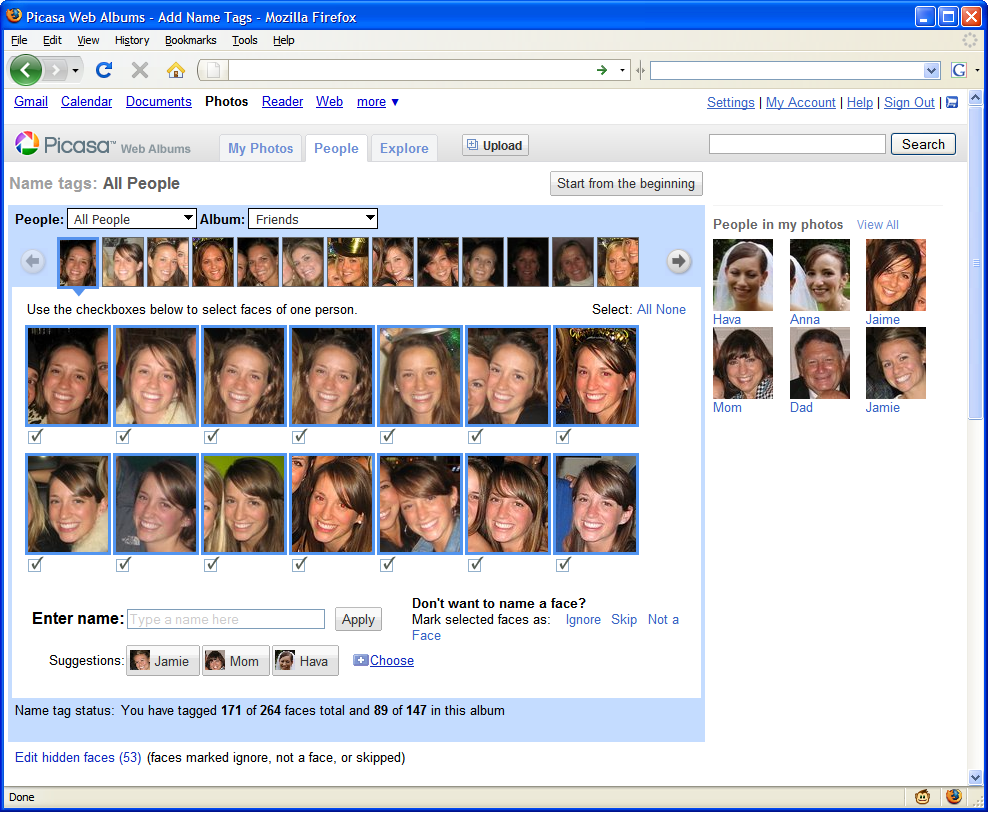 The name tag feature groups like faces together to let users tag them with names a batch at a time.