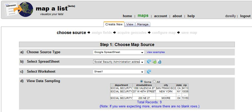 Map A List mapping service