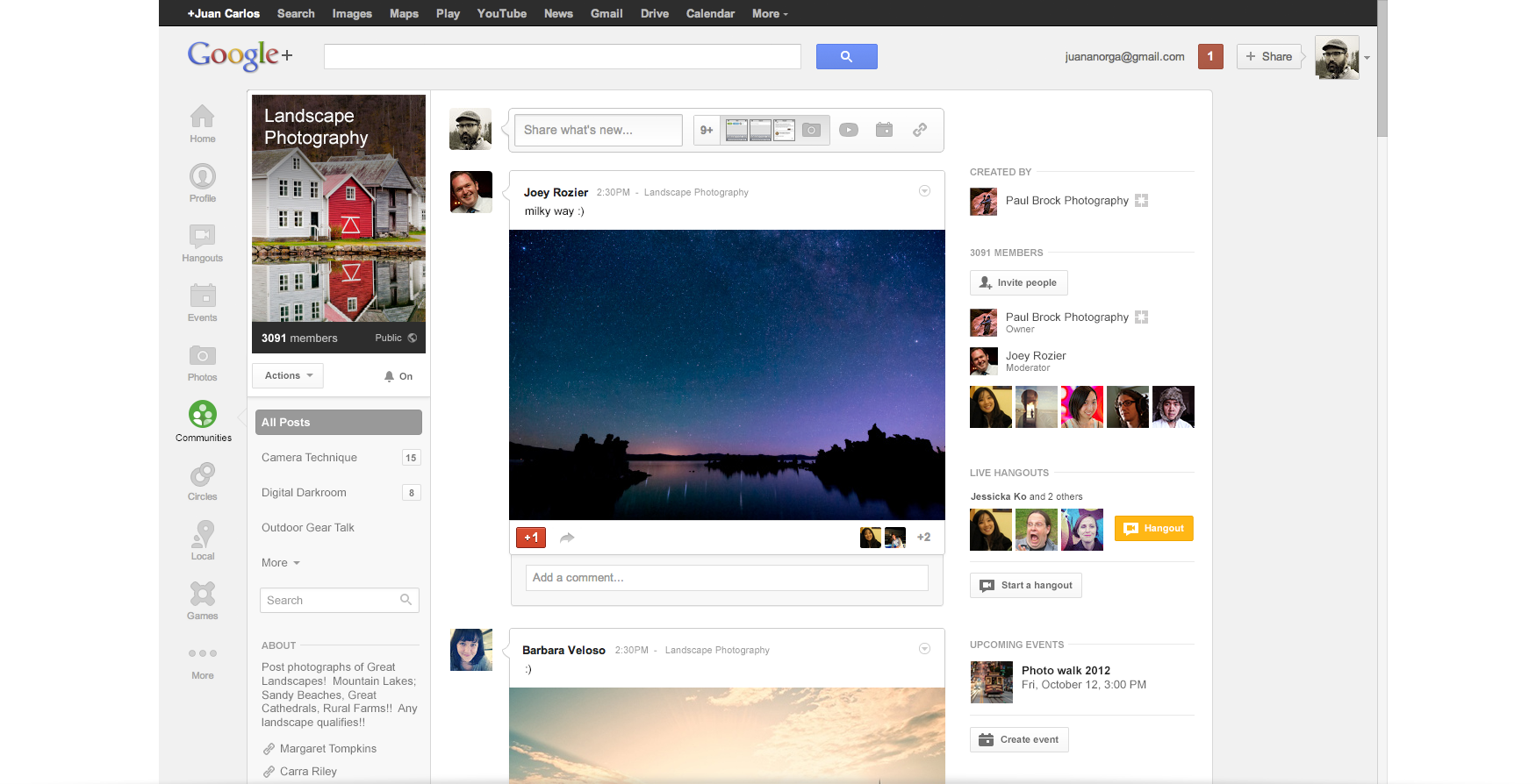 A landscape photography group in Google+ Communities.