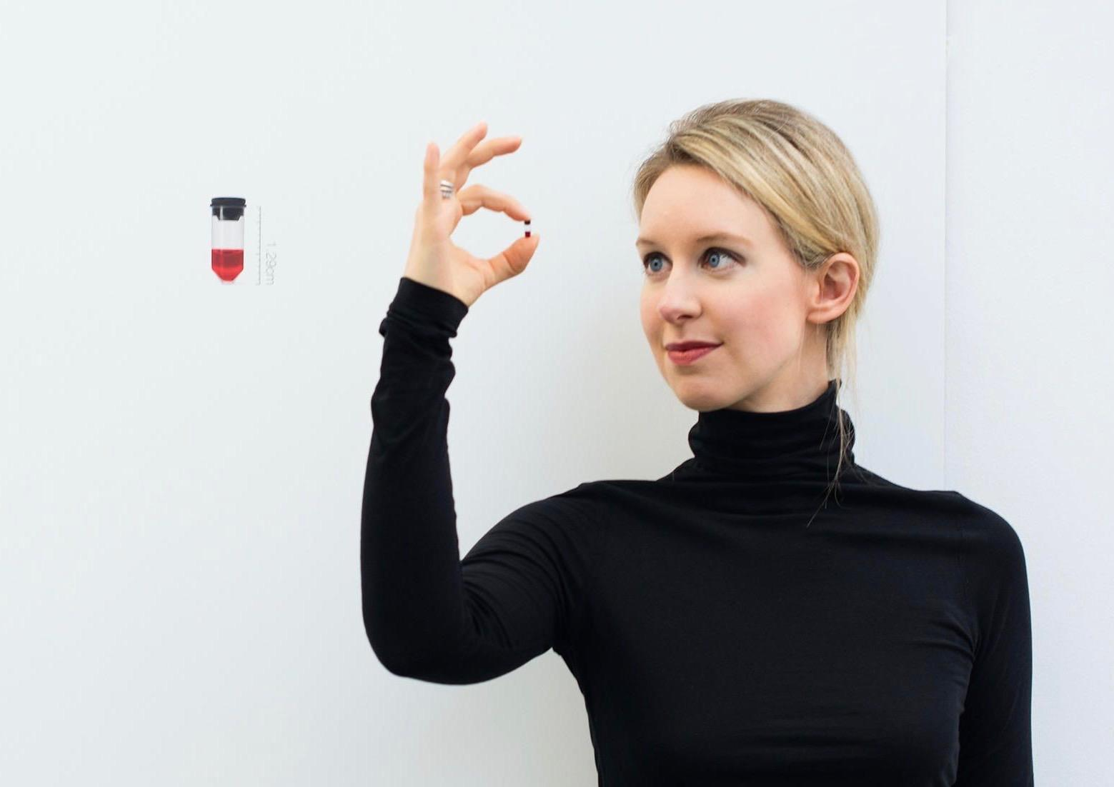 Elizabeth Holmes in a still from the movie The Inventor: Out for Blood in Silicon Valley