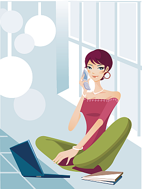 Cartoon of girl sitting casually with laptop and mobile phone