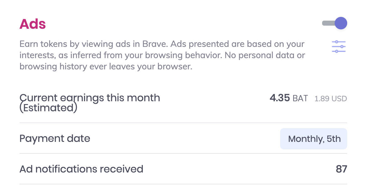 If you enable Brave's ad system, you'll see pop-up notifications and earn 70% of the resulting ad revenue.