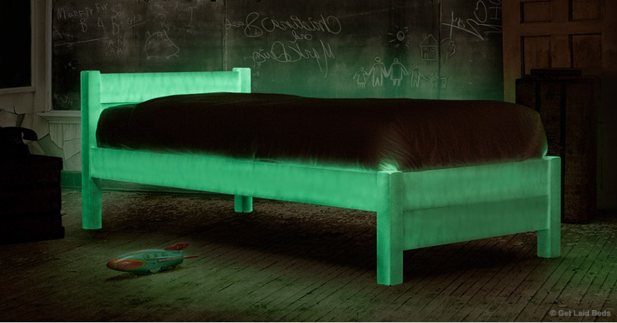 Glow-in-the-dark bed