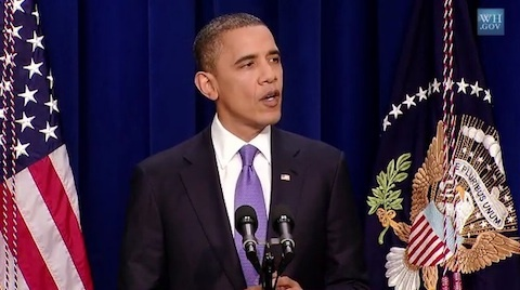 President Obama speaking today during a White House press conference.