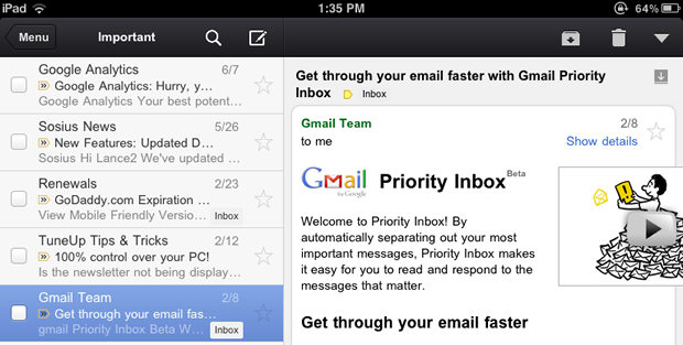 Google has launched its own Gmail app for Apple iOS devices.