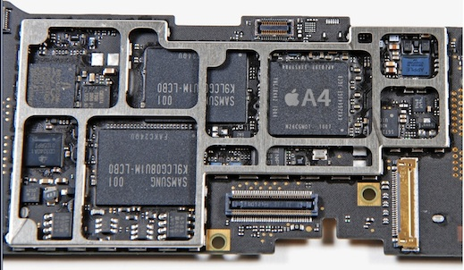 The iPad's main circuit board with the A4 chip: Intrinsity inside? And notice the preponderance of Samsung-branded silicon