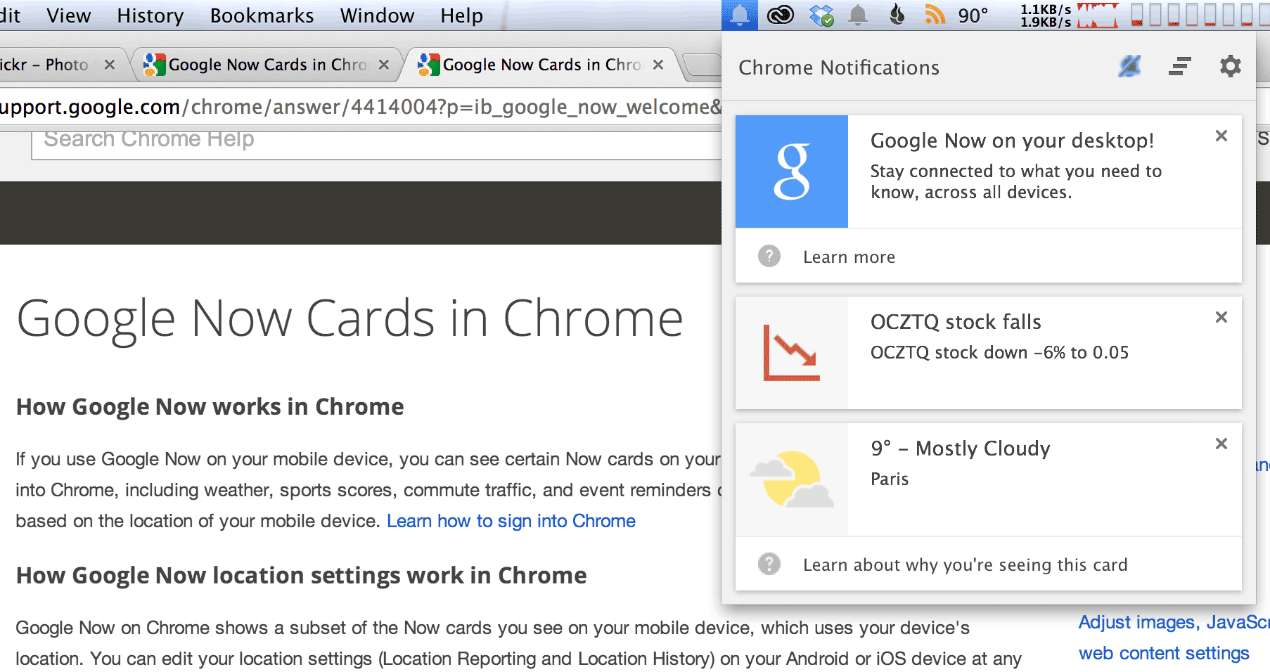 Google Now notifications have arrived in early test builds of Chrome.
