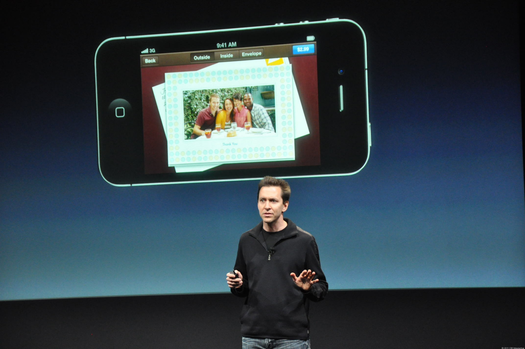 Scott Forstall introduces Apple's new Cards app.